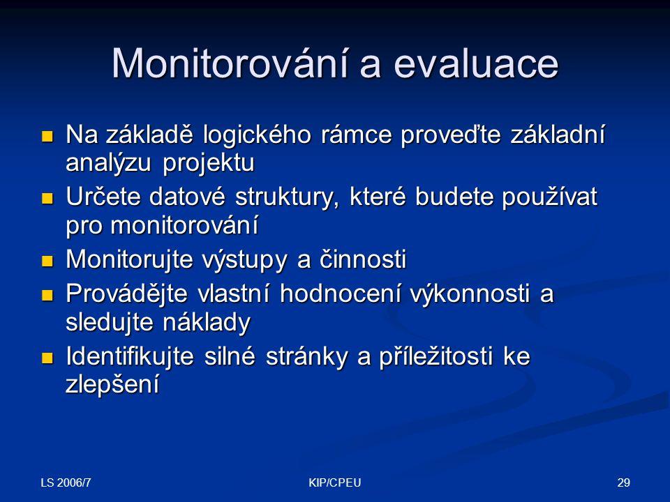 Monitorování a evaluace