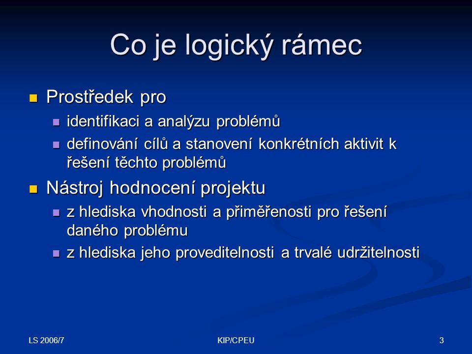 Co je logický rámec Prostředek pro Nástroj hodnocení projektu