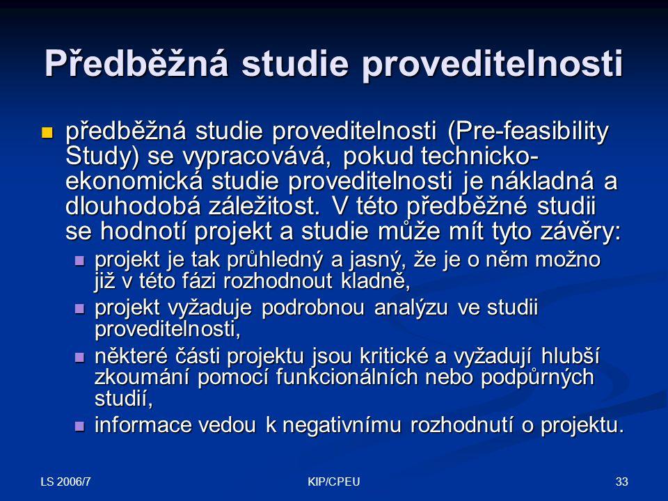 Předběžná studie proveditelnosti