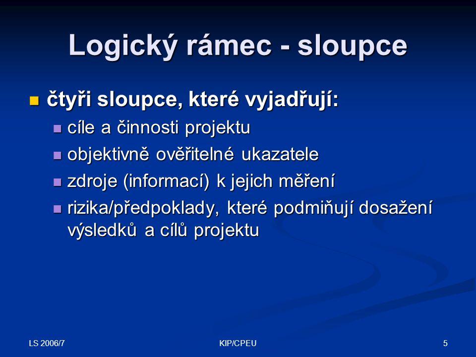 Logický rámec - sloupce