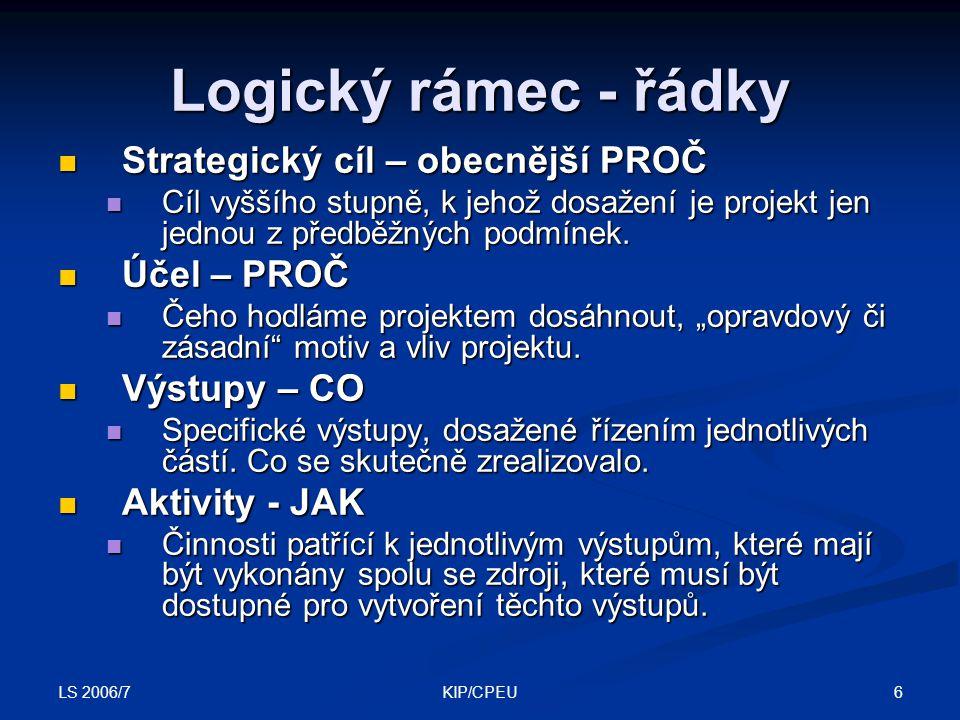 Logický rámec - řádky Strategický cíl – obecnější PROČ Účel – PROČ