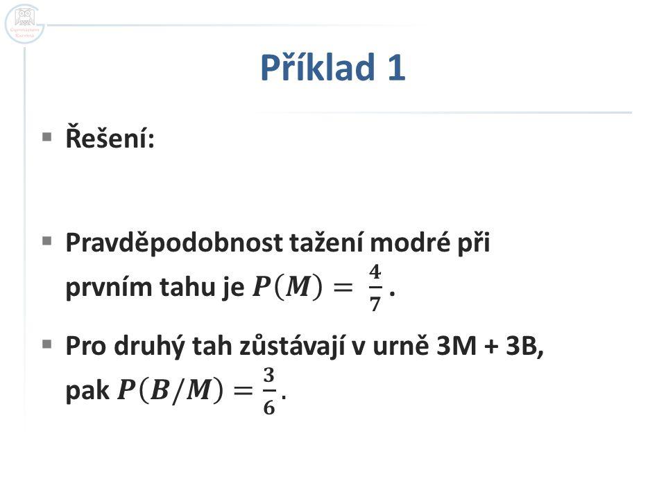 Příklad 1 Řešení: Pravděpodobnost tažení modré při prvním tahu je 𝑷 𝑴 = 𝟒 𝟕 .