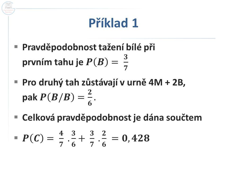 Příklad 1 Pravděpodobnost tažení bílé při prvním tahu je 𝑷 𝑩 = 𝟑 𝟕