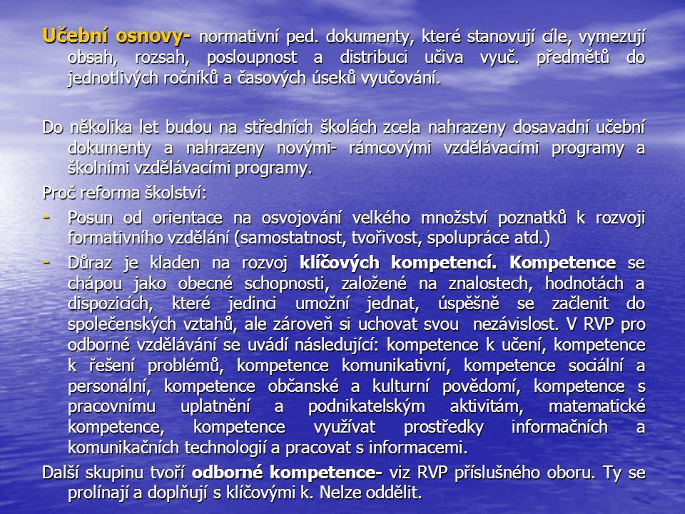Učební osnovy- normativní ped