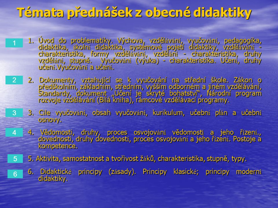 Témata přednášek z obecné didaktiky