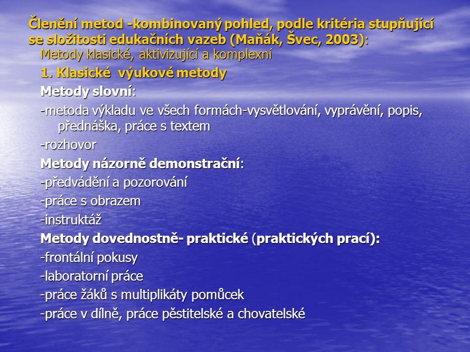 Členění metod -kombinovaný pohled, podle kritéria stupňující se složitosti edukačních vazeb (Maňák, Švec, 2003):