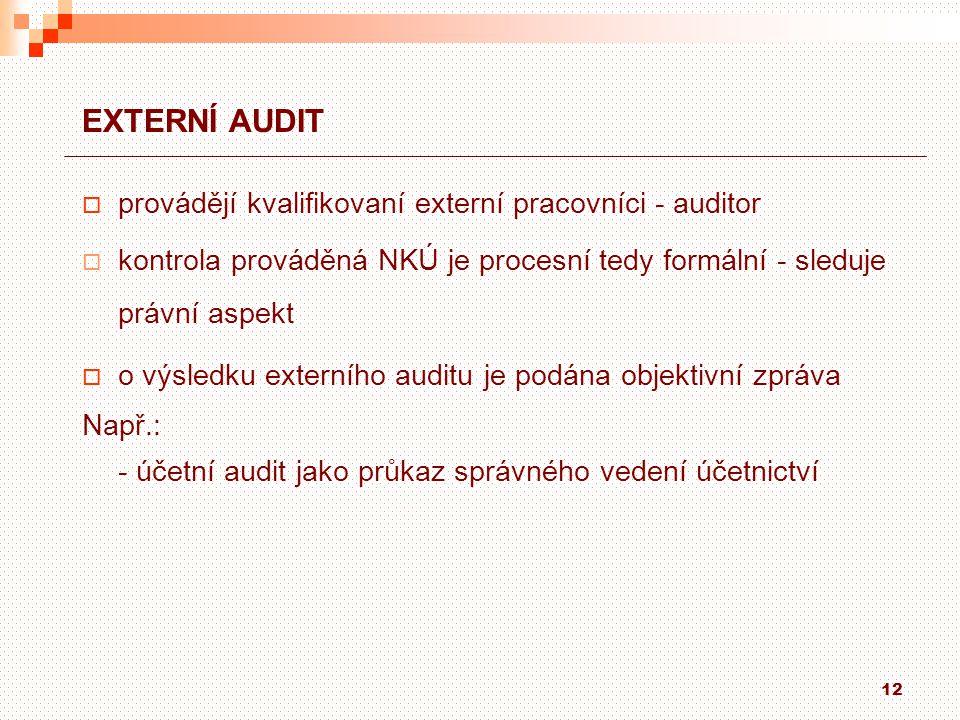 EXTERNÍ AUDIT provádějí kvalifikovaní externí pracovníci - auditor