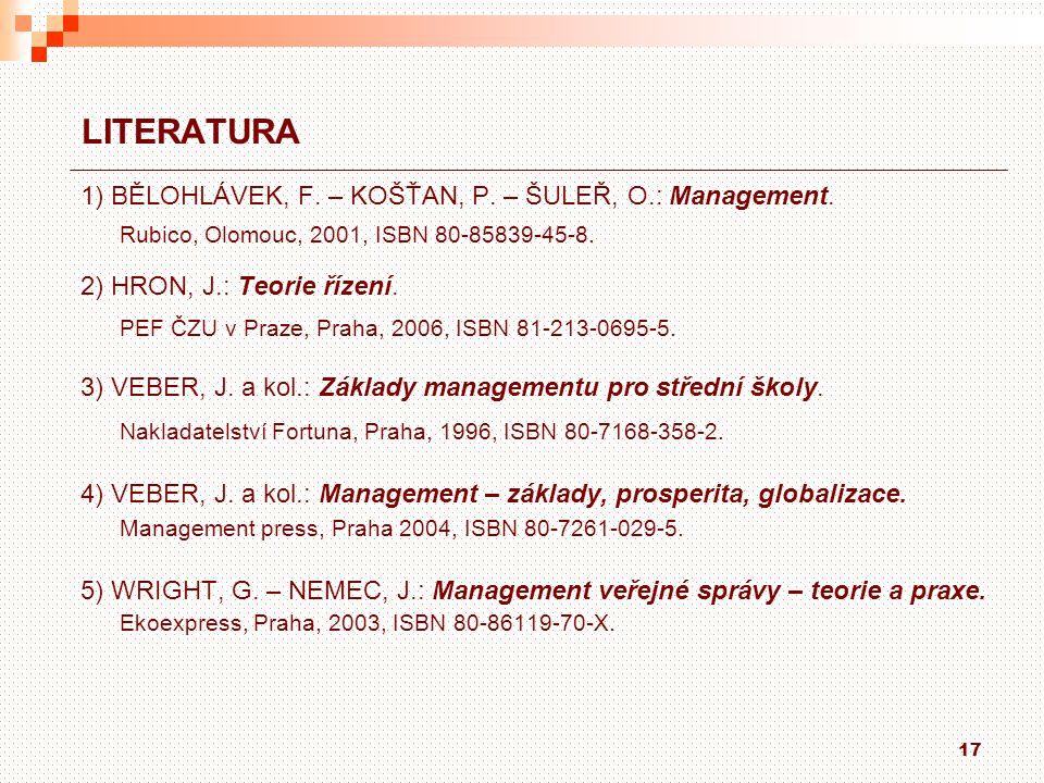 LITERATURA 1) BĚLOHLÁVEK, F. – KOŠŤAN, P. – ŠULEŘ, O.: Management.