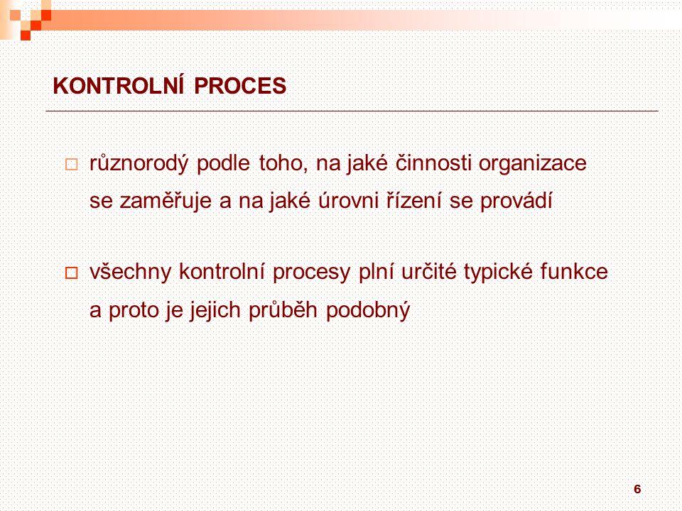 KONTROLNÍ PROCES různorodý podle toho, na jaké činnosti organizace. se zaměřuje a na jaké úrovni řízení se provádí.