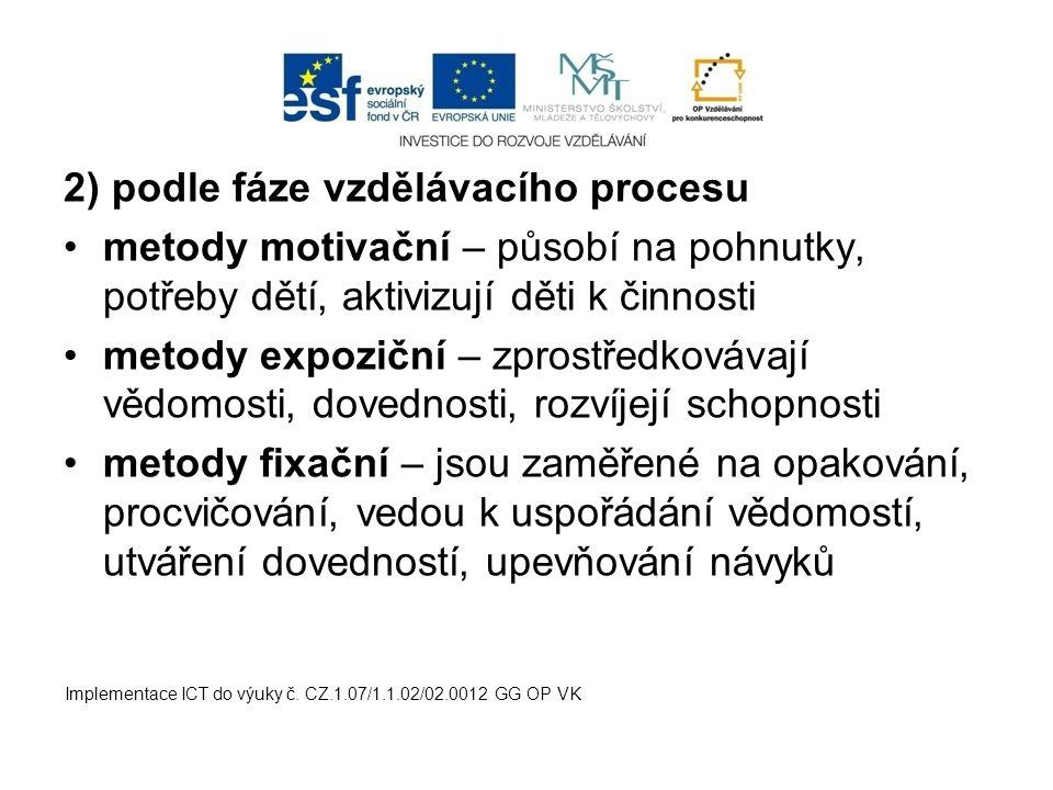 2) podle fáze vzdělávacího procesu