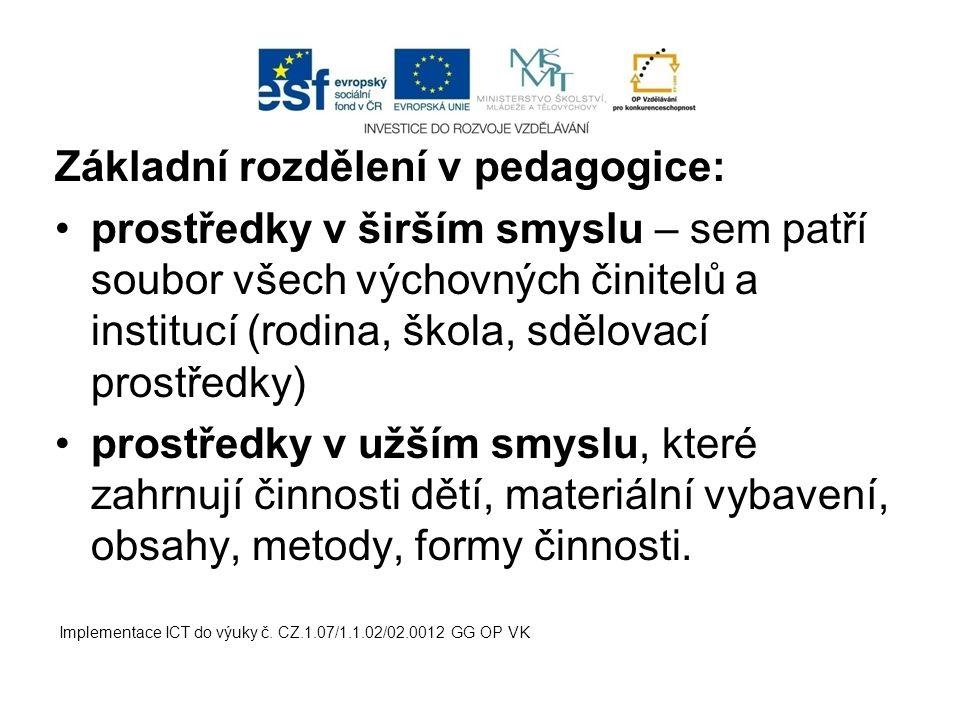 Základní rozdělení v pedagogice: