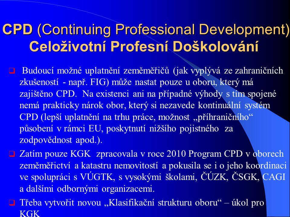 CPD (Continuing Professional Development) Celoživotní Profesní Doškolování