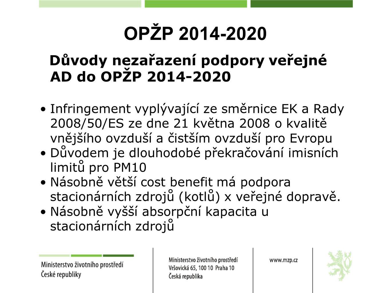 OPŽP 2014-2020 Důvody nezařazení podpory veřejné AD do OPŽP 2014-2020