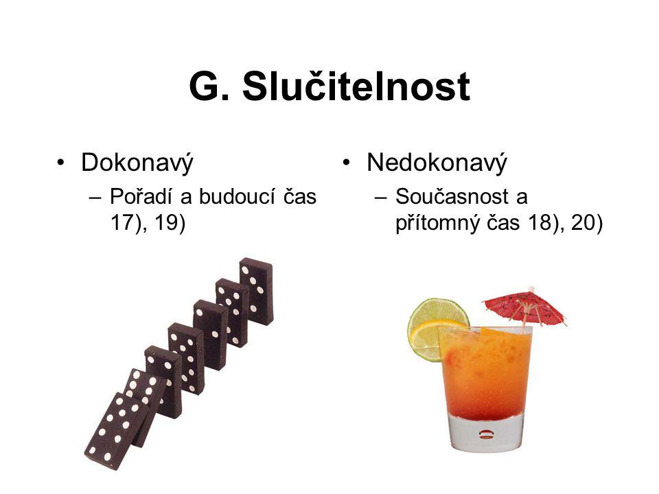 G. Slučitelnost Dokonavý Nedokonavý Pořadí a budoucí čas 17), 19)
