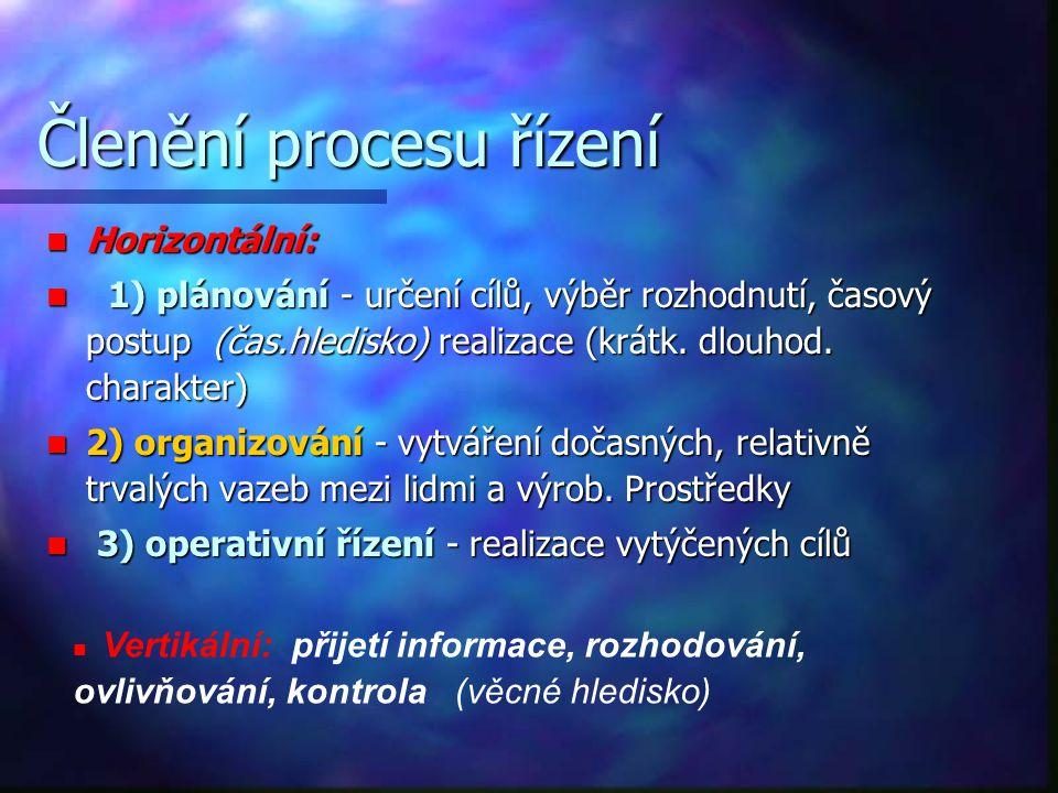 Členění procesu řízení