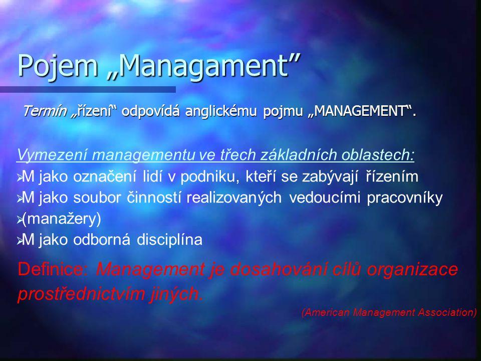 """Pojem """"Managament Definice: Management je dosahování cílů organizace"""