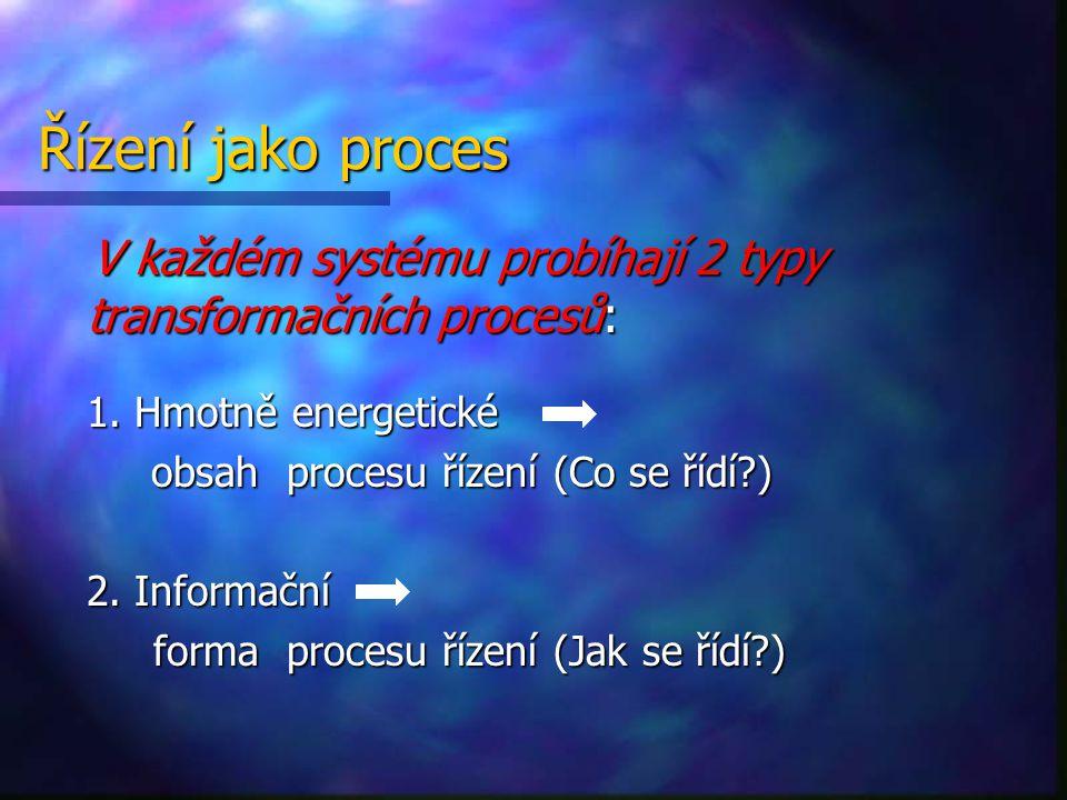 Řízení jako proces V každém systému probíhají 2 typy transformačních procesů: 1. Hmotně energetické.