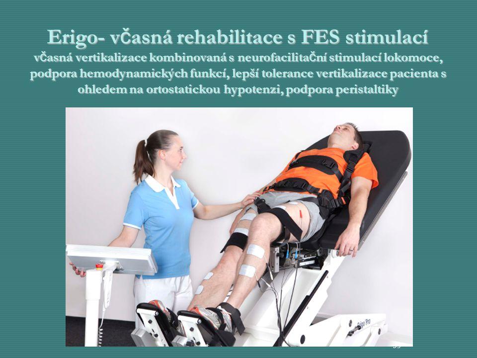 Erigo- včasná rehabilitace s FES stimulací včasná vertikalizace kombinovaná s neurofacilitační stimulací lokomoce, podpora hemodynamických funkcí, lepší tolerance vertikalizace pacienta s ohledem na ortostatickou hypotenzi, podpora peristaltiky