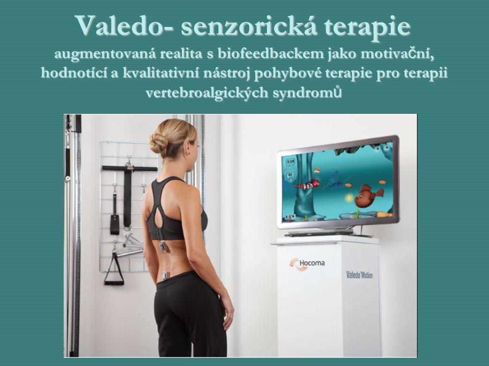 Valedo- senzorická terapie augmentovaná realita s biofeedbackem jako motivační, hodnotící a kvalitativní nástroj pohybové terapie pro terapii vertebroalgických syndromů