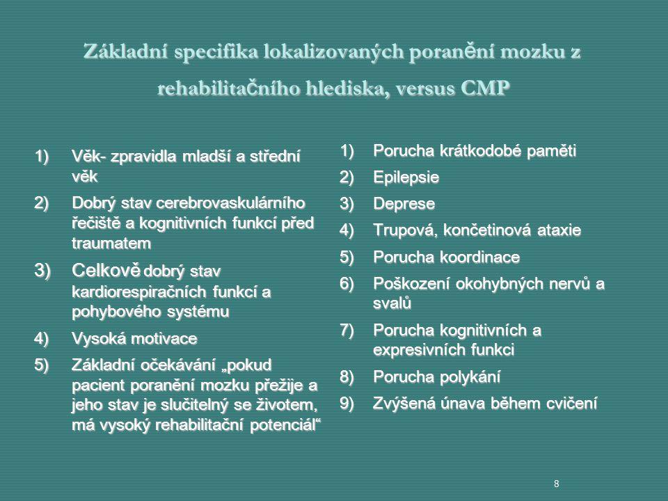 Základní specifika lokalizovaných poranění mozku z rehabilitačního hlediska, versus CMP