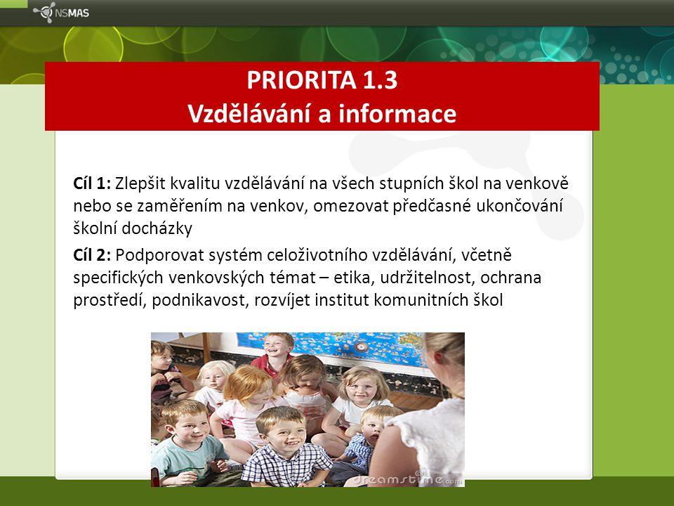 PRIORITA 1.3 Vzdělávání a informace