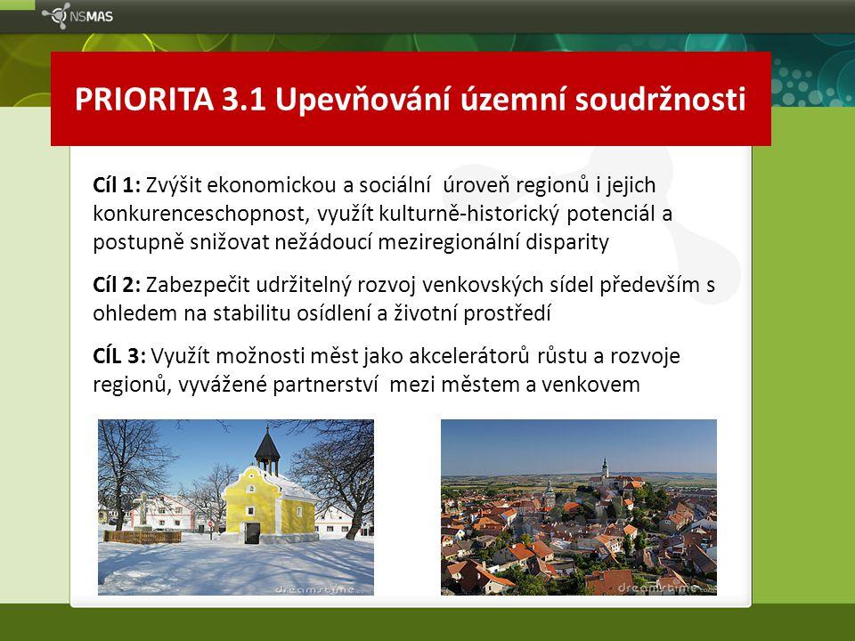 PRIORITA 3.1 Upevňování územní soudržnosti