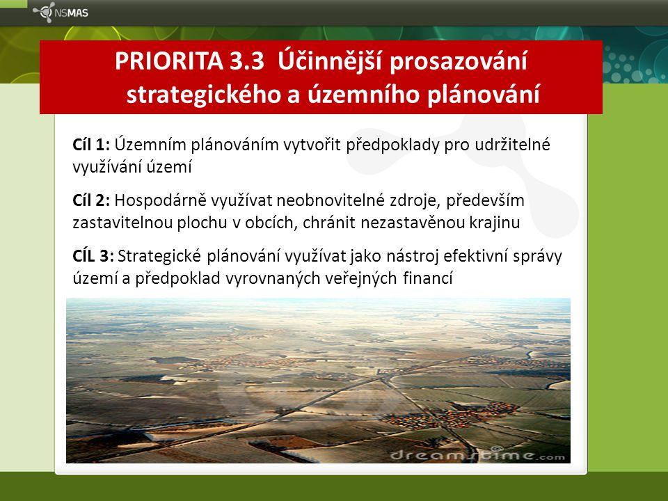PRIORITA 3.3 Účinnější prosazování strategického a územního plánování