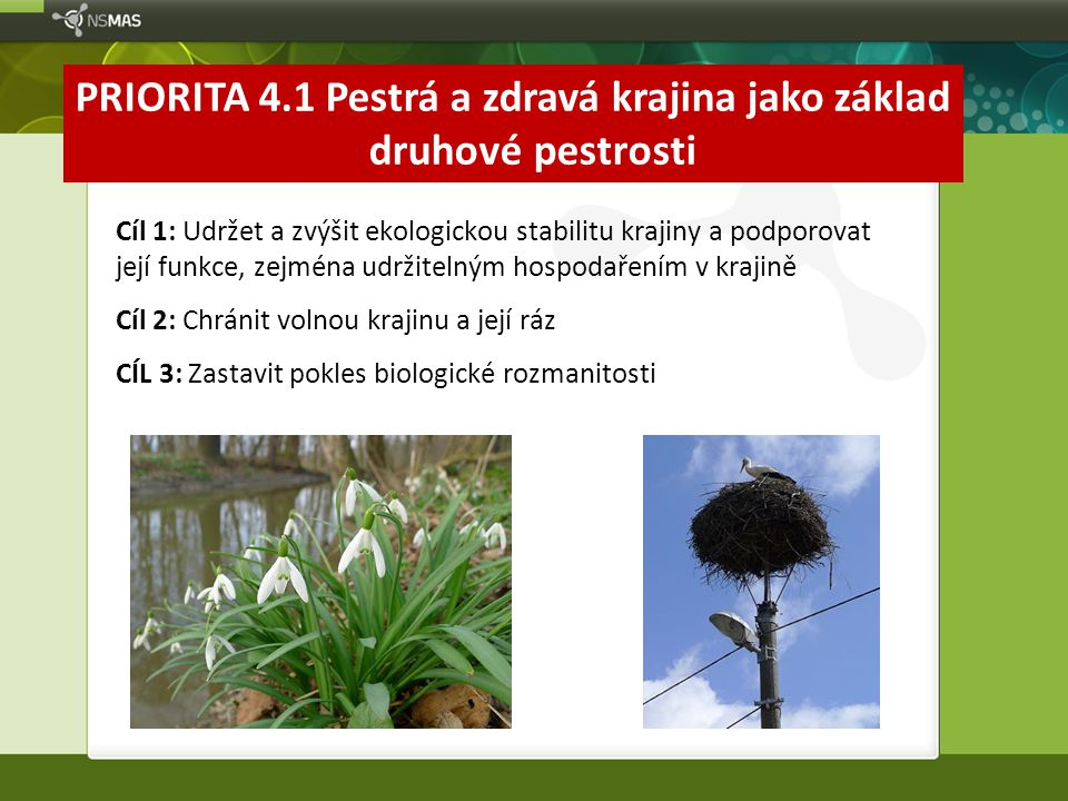 PRIORITA 4.1 Pestrá a zdravá krajina jako základ druhové pestrosti