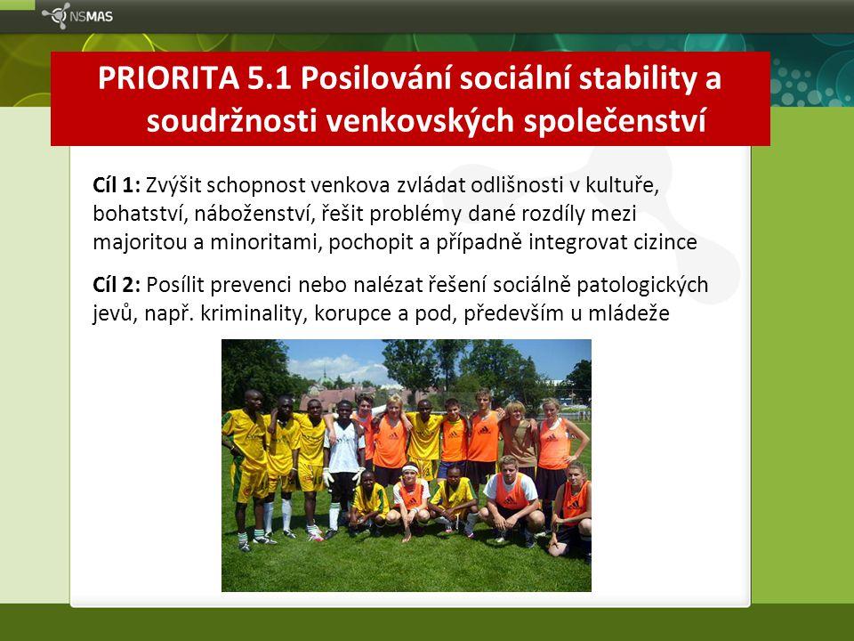 PRIORITA 5.1 Posilování sociální stability a soudržnosti venkovských společenství