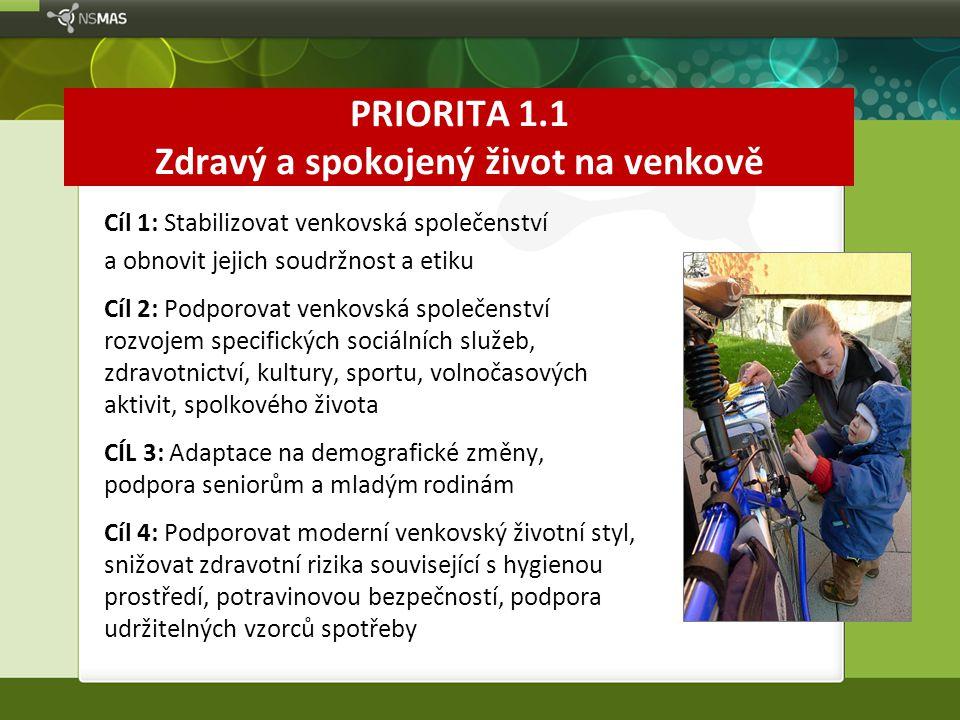 PRIORITA 1.1 Zdravý a spokojený život na venkově