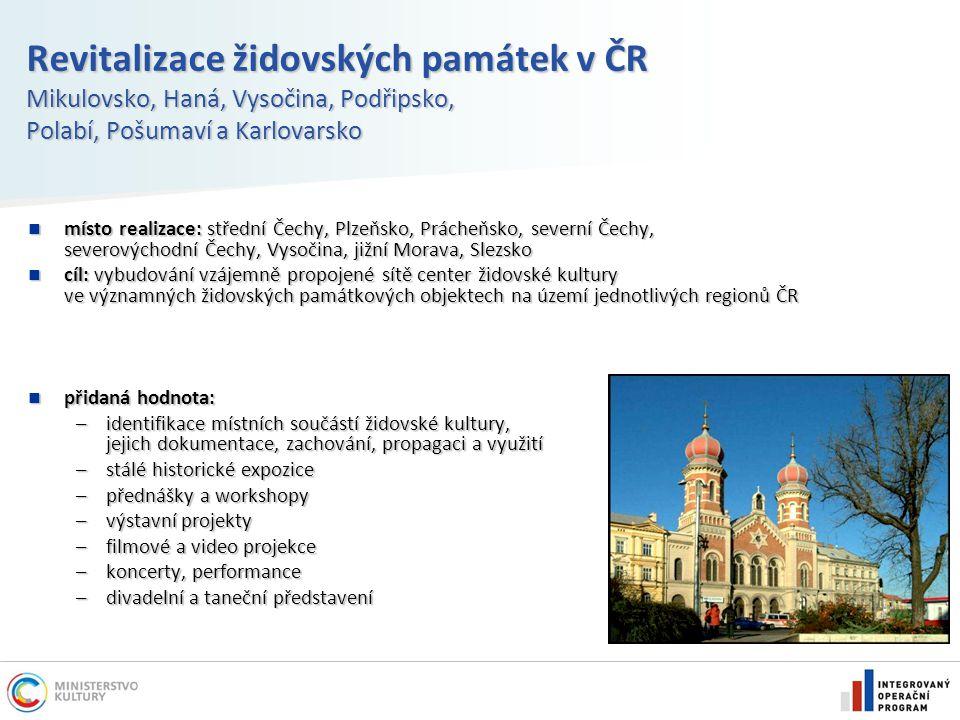 Revitalizace židovských památek v ČR Mikulovsko, Haná, Vysočina, Podřipsko, Polabí, Pošumaví a Karlovarsko