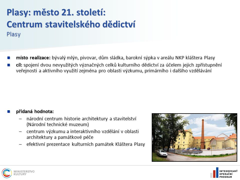 Plasy: město 21. století: Centrum stavitelského dědictví Plasy