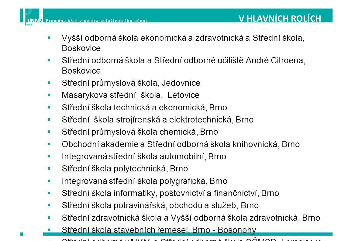 V HLAVNÍCH ROLÍCH Vyšší odborná škola ekonomická a zdravotnická a Střední škola, Boskovice.