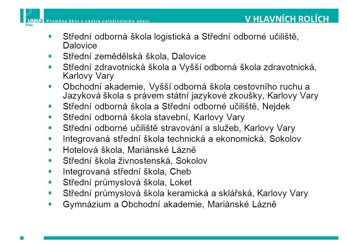 V HLAVNÍCH ROLÍCH Střední odborná škola logistická a Střední odborné učiliště, Dalovice. Střední zemědělská škola, Dalovice.