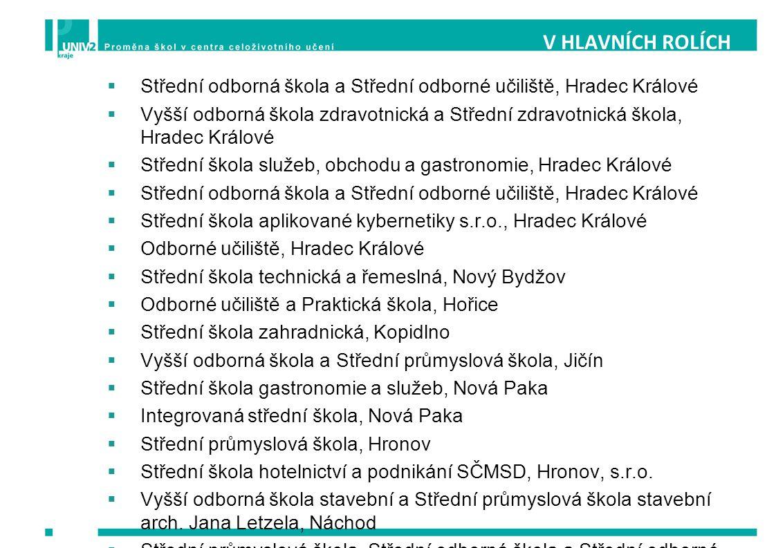 V HLAVNÍCH ROLÍCH Střední odborná škola a Střední odborné učiliště, Hradec Králové.