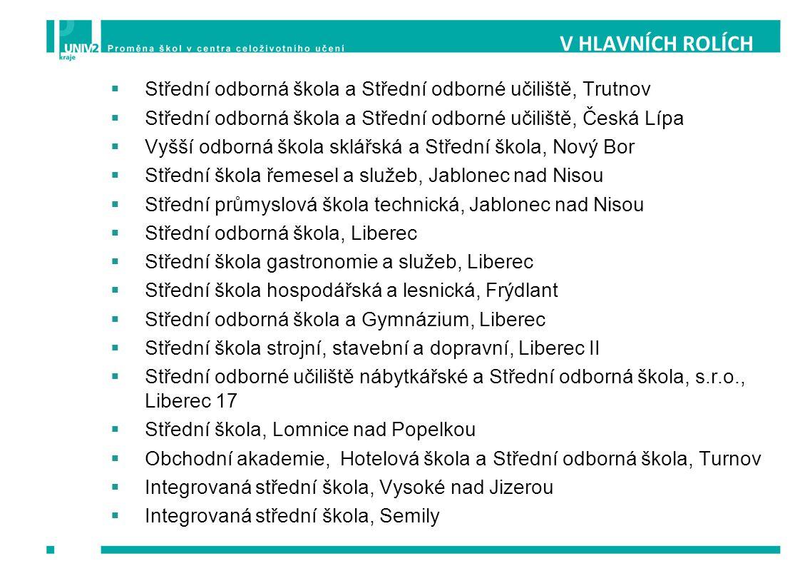 V HLAVNÍCH ROLÍCH Střední odborná škola a Střední odborné učiliště, Trutnov. Střední odborná škola a Střední odborné učiliště, Česká Lípa.