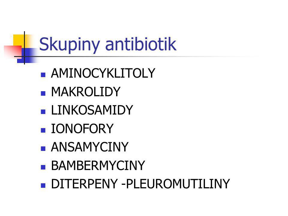 Skupiny antibiotik AMINOCYKLITOLY MAKROLIDY LINKOSAMIDY IONOFORY