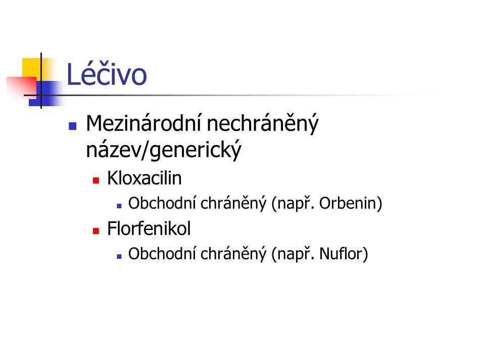 Léčivo Mezinárodní nechráněný název/generický Kloxacilin Florfenikol
