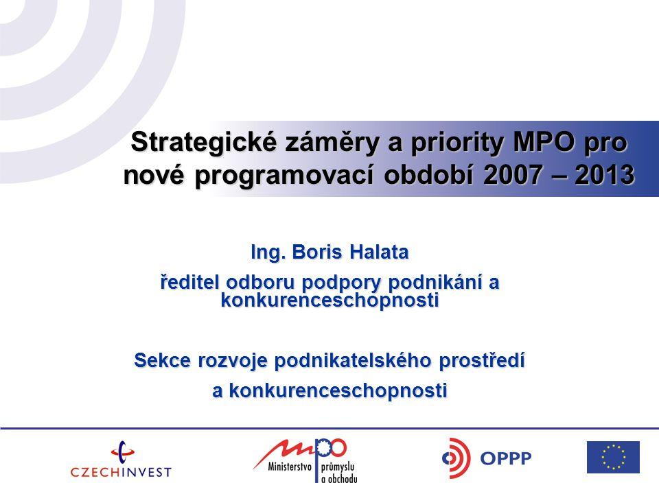Strategické záměry a priority MPO pro nové programovací období 2007 – 2013