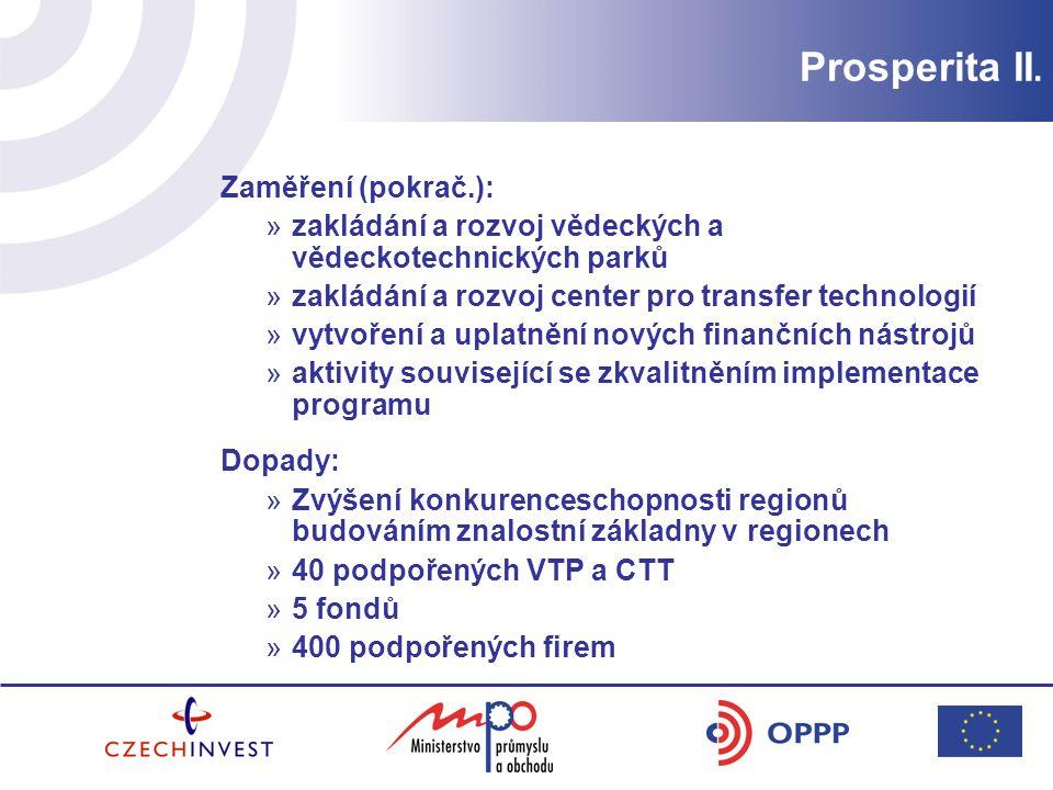Prosperita II. zakládání a rozvoj vědeckých a vědeckotechnických parků