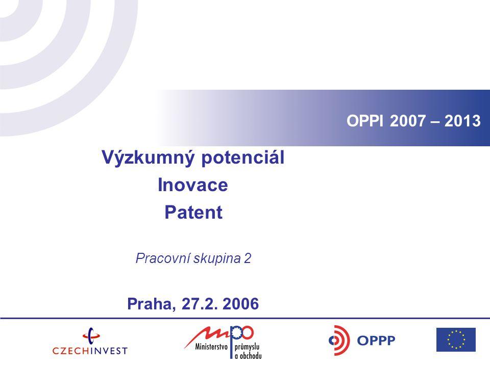 Výzkumný potenciál Inovace Patent Pracovní skupina 2 Praha, 27.2. 2006