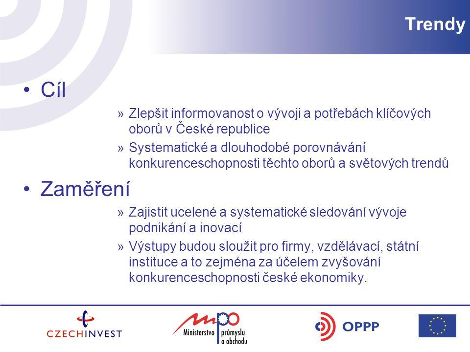 Trendy Cíl. Zlepšit informovanost o vývoji a potřebách klíčových oborů v České republice.