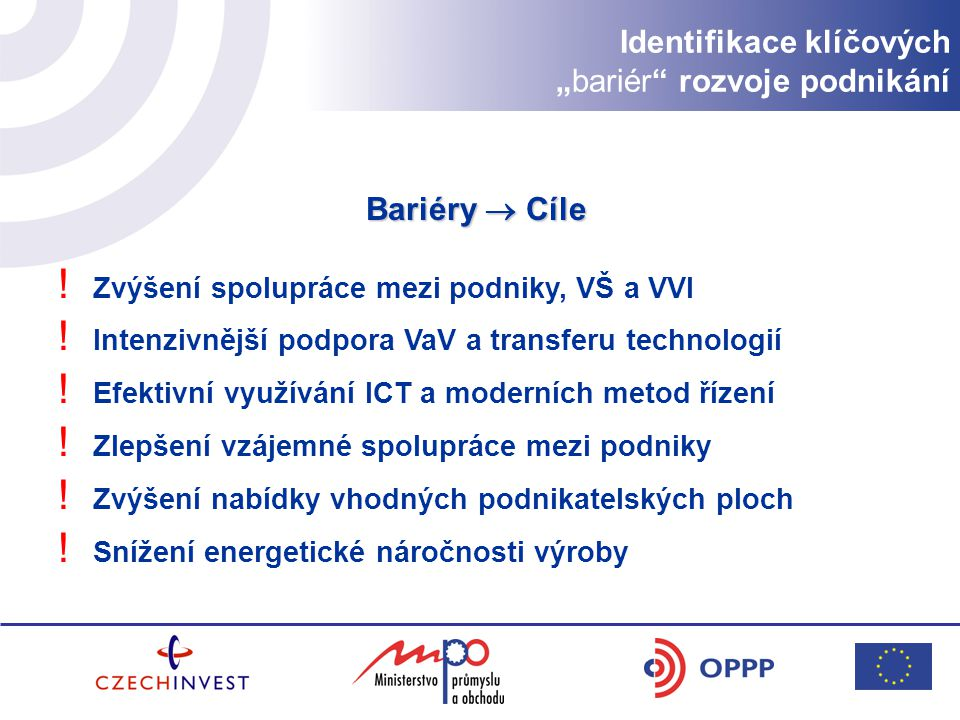 """Identifikace klíčových """"bariér rozvoje podnikání"""