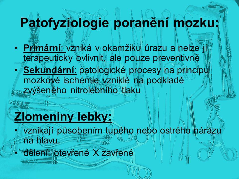 Patofyziologie poranění mozku: