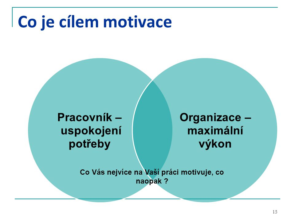 Co Vás nejvíce na Vaší práci motivuje, co naopak