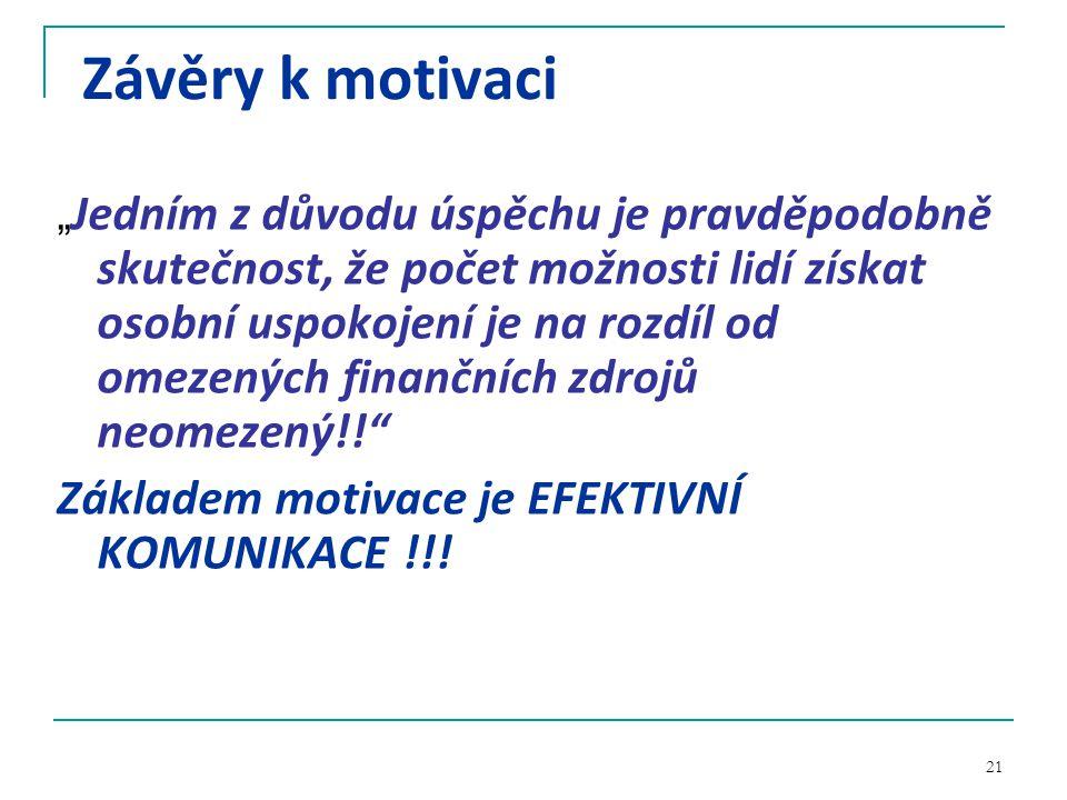 Závěry k motivaci Základem motivace je EFEKTIVNÍ KOMUNIKACE !!!