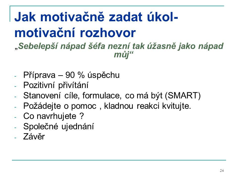 Jak motivačně zadat úkol-motivační rozhovor