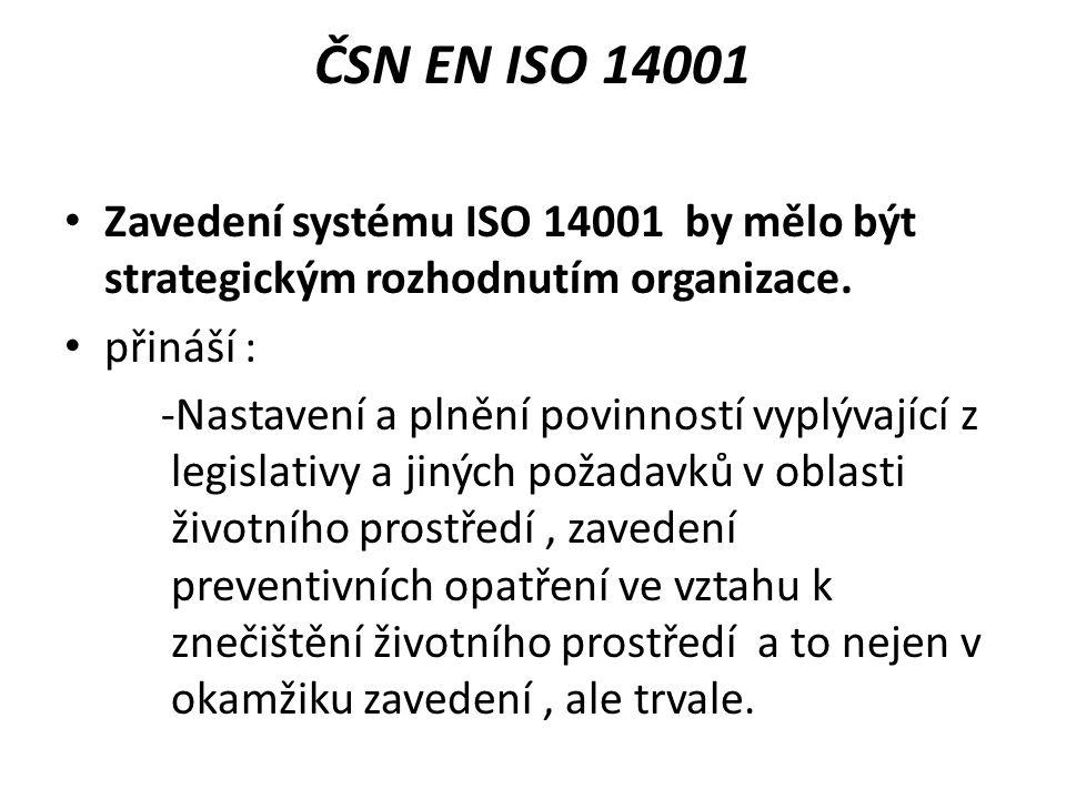 ČSN EN ISO 14001 Zavedení systému ISO 14001 by mělo být strategickým rozhodnutím organizace. přináší :