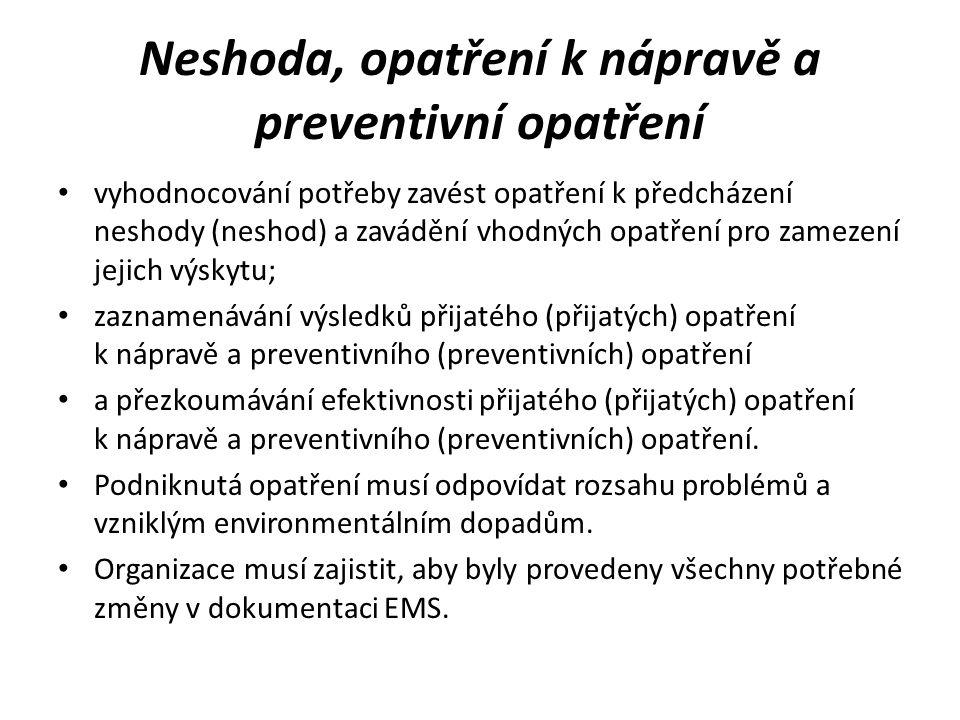 Neshoda, opatření k nápravě a preventivní opatření