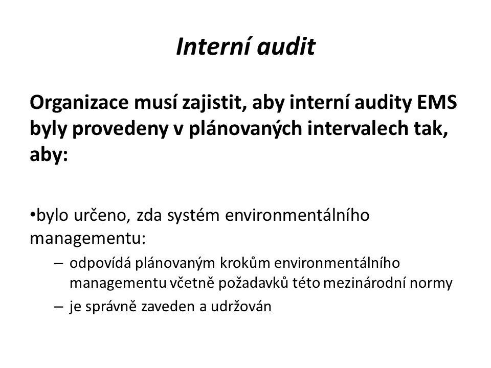 Interní audit Organizace musí zajistit, aby interní audity EMS byly provedeny v plánovaných intervalech tak, aby: